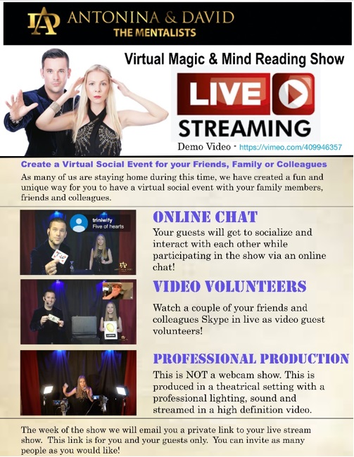 Virtual Magic and Mind Reading Show - 1 Hour